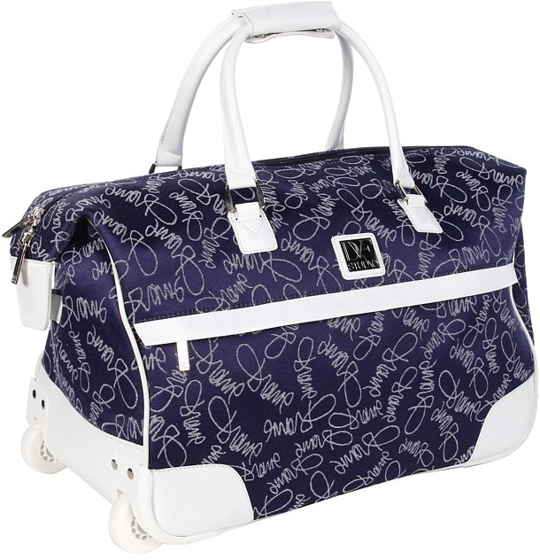 Diane von Furstenberg Color On The Go - 20 Wheeled City Bag (Navy/White) - Bags and Luggage