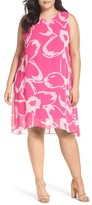 Vince Camuto Plus Size Women's Cutout Floral Chiffon Overlay Shift Dress