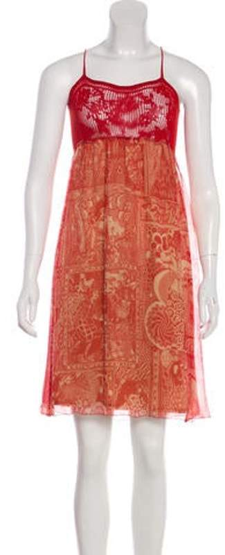 Jean Paul Gaultier Silk-Blend Printed Midi Dress Red Silk-Blend Printed Midi Dress