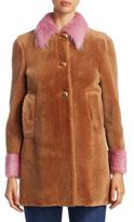 Miu Miu Beaver Trim Shearling Coat