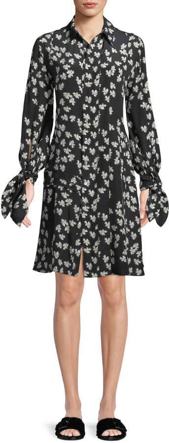 Derek Lam Tie-Cuffs Button-Front Floral-Print Silk Shirtdress w/ Pleating