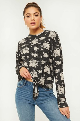 Ardene Floral Sweater with Knotted Waist