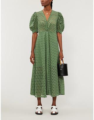 Sandro Sheraze puffed-sleeve woven midi wrap dress