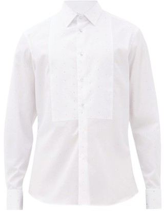 Burberry Crystal-embellished Cotton-poplin Tuxedo Shirt - Mens - White