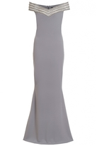 Quiz Grey Diamante Bardot Fishtail Maxi Dress