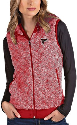 Antigua Women's Heathered Red Atlanta Falcons Fame Hooded Full-Zip Vest