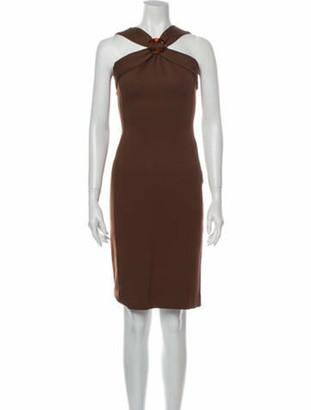 Gucci Halterneck Knee-Length Dress Brown