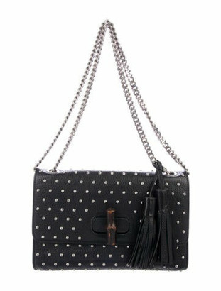 Gucci Miss Bamboo Studded Shoulder Bag Black