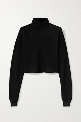 The Range Cropped Waffle-knit Stretch-cotton Turtleneck Top - Black