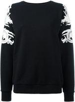 Marcelo Burlon County of Milan lace appliqué sweatshirt - women - Cotton/Polyester - XS