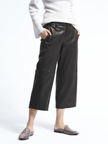 Banana Republic Heritage Blake-Fit Leather Wide-Leg Crop Pant