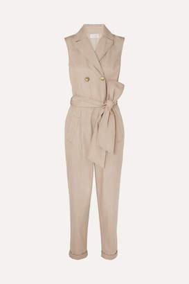 Brunello Cucinelli Belted Cotton Jumpsuit - Beige