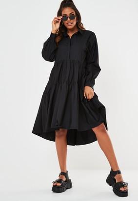 Missguided Black Extreme Oversized Smock Shirt Dress