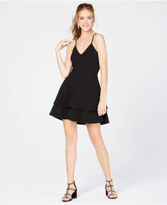 B. Darlin Juniors' Lace-Back Fit & Flare Dress