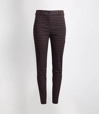 LOFT Petite Plaid High Waist Skinny Ankle Pants