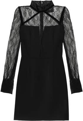 Nicholas Chantilly Lace-paneled Crepe Mini Dress