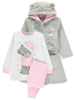 George 3 Piece Tatty Teddy Dressing Gown and Pyjamas