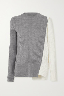 Sacai Cutout Paneled Ribbed And Cable-knit Wool Sweater - Gray