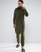 Asos Velour Onesie In Khaki