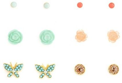 Charlotte Russe Butterfly Floral Earring Set