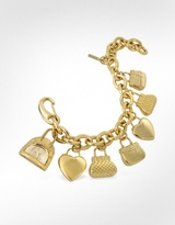 Time For Shopping - Gold Plated Charm Bracelet Watch