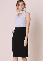 Missy Empire Danica Black High Waisted Midi Skirt