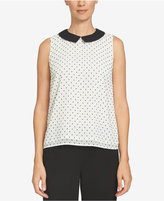 CeCe Collared Polka-Dot Top