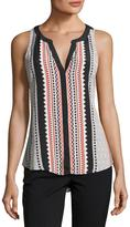 Sanctuary Craft Split-Neck Sleeveless Top, Multi Pattern