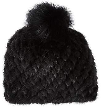 Barneys New York Women's Mink & Fox Fur Knit Beanie - Black