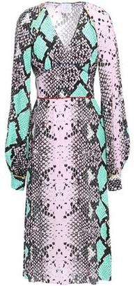 Stella Jean Gathered Snake-print Crepe Midi Dress