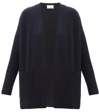 Allude Ribbed Cashmere Cardigan - Navy
