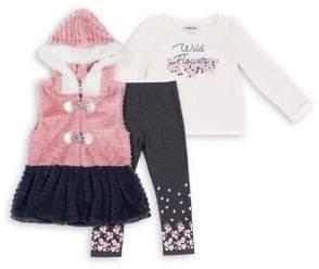 Little Lass Little Girl's 3-Piece Faux Fur-Trim Hooded Peplum Vest, Cotton-Blend Top & Leggings Set