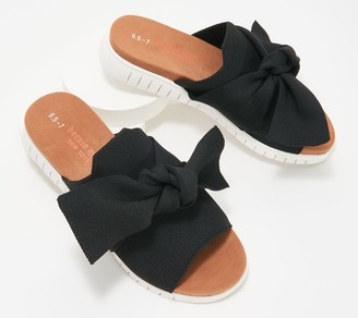 Bernie Mev. Knit Slide Sandals with Bow - Freesia