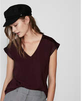 Express silky v-neck rolled sleeve blouse