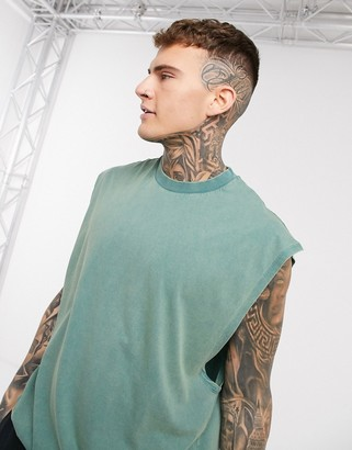 ASOS DESIGN oversized sleeveless t-shirt in green acid wash