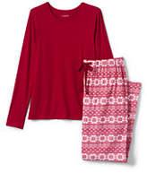 Lands' End Women's Petite Knit Flannel Sleep Set-Rich Red/Ivory Fairisle