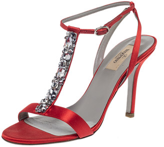 Valentino Red Satin Crystal Embellished T Strap Sandals Size 37