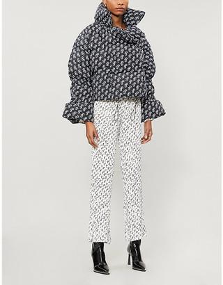 Saks Potts Branded-print shell-down jacket