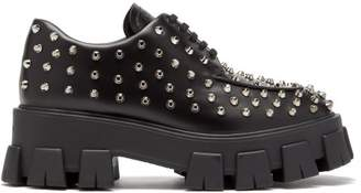 Prada Studded Leather Derby Shoes - Womens - Black