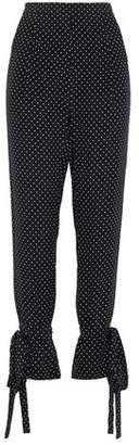 Mason by Michelle Mason Bow-detailed Polka Dot Silk Crepe De Chine Tapered Pants