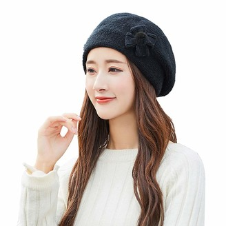 Hevoiok Women's Hats Hevoiok Women Winter Warm Beanie Hat Casual Fashion Bow Knot Pure Color Knit Wool Warm Soft Hats Ladies Angora Berets (Black-1621)