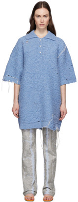 Acne Studios Blue Oversized Polo Dress