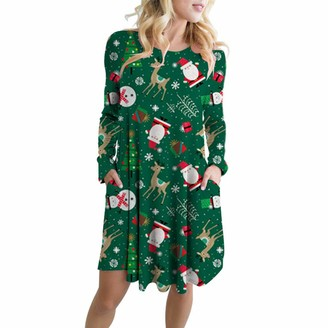 XuyIeY Womens A Line Casual DRSS Long Sleeve Christmas Santa Claus Snowman Party Swing Dress