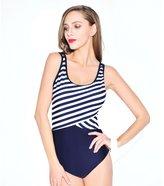 Lora Dew(TM) Stripe Style Women Backless Splice One Piece Swimsuit