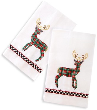 Mackenzie Childs Tartan Deer Set of Two Guest Towels