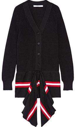 Givenchy Draped Striped Cotton-Blend Cardigan