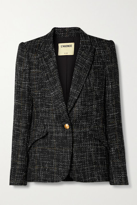 L'Agence Chamberlain Checked Tweed Blazer - Black