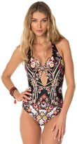 Becca by Rebecca Virtue Becca Women's Havana Strappy Plunge Front Halter One Piece Swimsuit-M