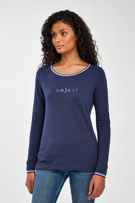 Next Womens Navy Graphic Long Sleeve Top - Blue