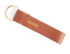 ROYCE New York Leather Loop Key Fob with Gold Hardware